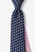 Navy Blue Microfiber Stars & Stripes Tie