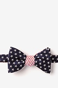 Navy Blue Microfiber Stars & Stripes Reversible Self-Tie Bow Tie