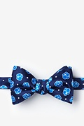 Navy Blue Microfiber Stem Cells Self-Tie Bow Tie