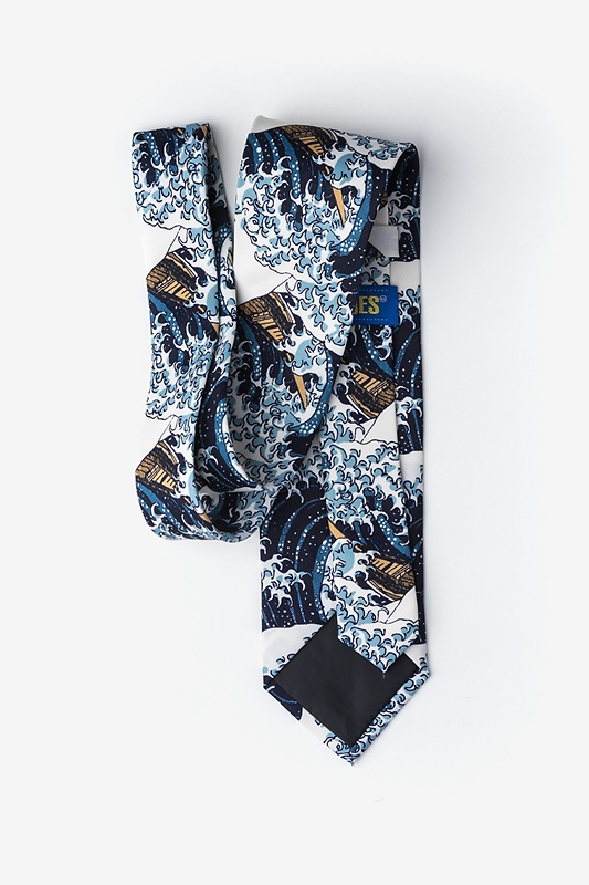 The Great Wave Off Kanagawa Navy Blue Extra Long Tie Photo (1)