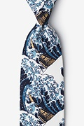 Navy Blue Microfiber The Great Wave Off Kanagawa Extra Long Tie