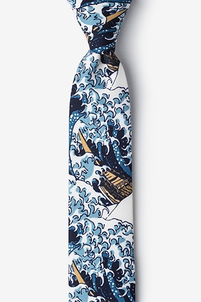 The Great Wave Off Kanagawa Navy Blue Skinny Tie