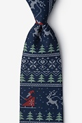 Ugly Christmas Sweater Navy Blue Extra Long Tie