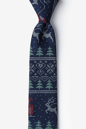 _Ugly Christmas Sweater Navy Blue Skinny Tie_