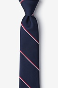 Navy Blue Microfiber Understated Patriot Skinny Tie