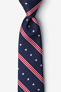 Navy Blue Microfiber USA Stripe Tie