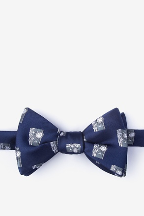 Vintage Cameras Navy Blue Self-Tie Bow Tie
