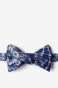 Navy Blue Microfiber Vintage Star Chart Butterfly Bow Tie