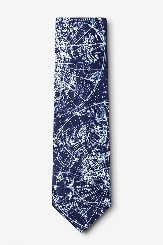 Vintage Star Chart Navy Blue Extra Long Tie Photo (1)