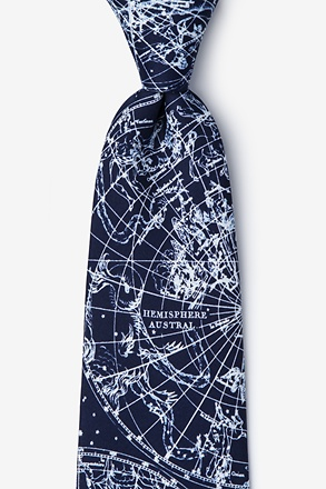 _Vintage Star Chart Navy Blue Extra Long Tie_