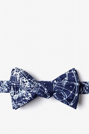 _Vintage Star Chart Navy Blue Self-Tie Bow Tie_