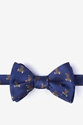 Navy Blue Microfiber Weiner Dogs Self-Tie Bow Tie