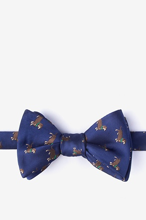 Weiner Dogs Navy Blue Self-Tie Bow Tie