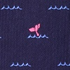 Navy Blue Microfiber Whale Tails Extra Long Tie