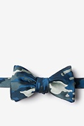 Navy Blue Microfiber Woodland Camo Self-Tie Bow Tie