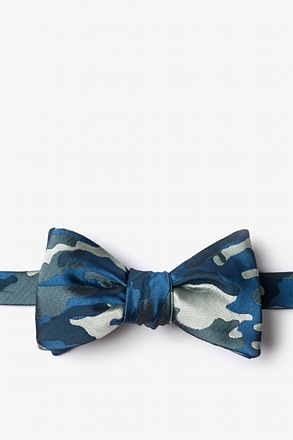 Woodland Camo Navy Blue Self-Tie Bow Tie
