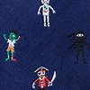 Navy Blue Microfiber Zombie Pirate Ninja Robot Extra Long Tie