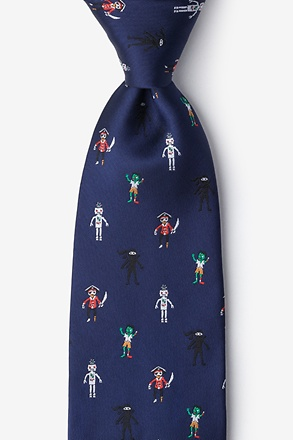 _Zombie Pirate Ninja Robot Navy Blue Extra Long Tie_