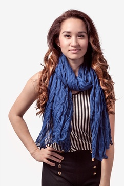 Morgan Solid Navy Blue Scarf