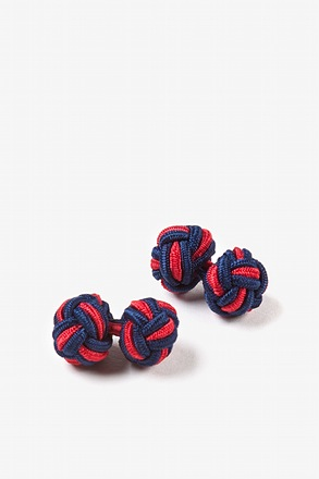 _Navy & Red Knot Navy Blue Cufflinks_