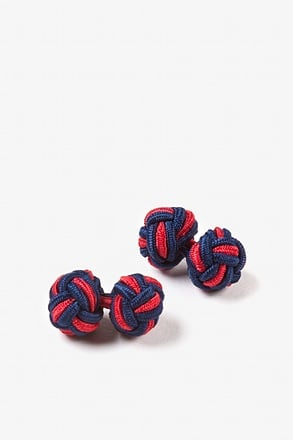 Navy & Red Knot Navy Blue Cufflinks