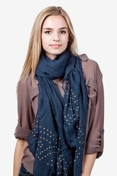 Taza Studded Navy Blue Scarf