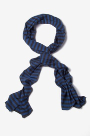 Navy Blue Polyester Traveling Stripe Scarf