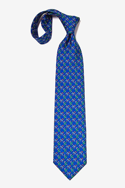 A Good Cane-ing Navy Blue Tie Photo (4)