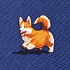 Navy Blue Silk A Rowdy of Corgis Extra Long Tie