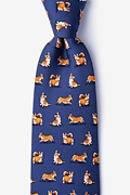 Navy Blue Silk A Rowdy of Corgis Tie
