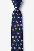 Navy Blue Silk A-Z International Flags Skinny Tie