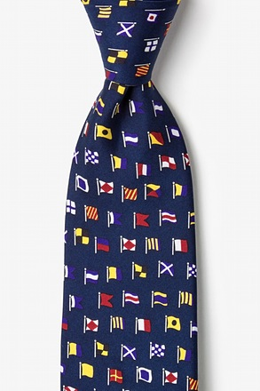 A-Z International Flags Navy Blue Tie