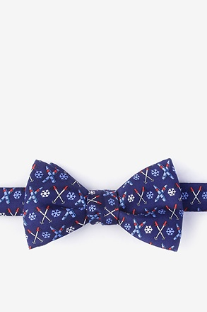_All Downhill From Here Navy Blue Self-Tie Bow Tie_