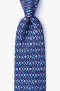 Navy Blue Silk All Downhill From Here Tie