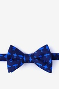 Navy Blue Silk Aviation Self-Tie Bow Tie
