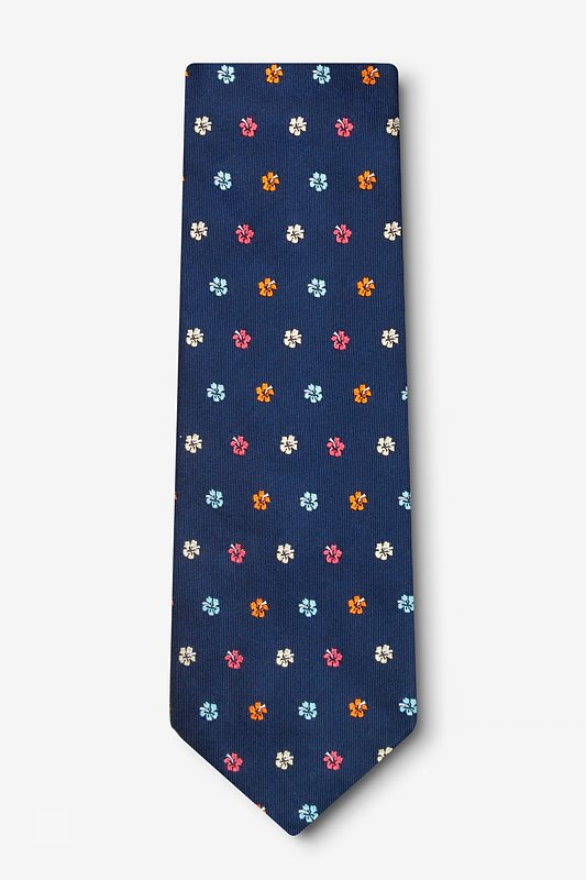 Awesome Blossoms Navy Blue Extra Long Tie Photo (1)