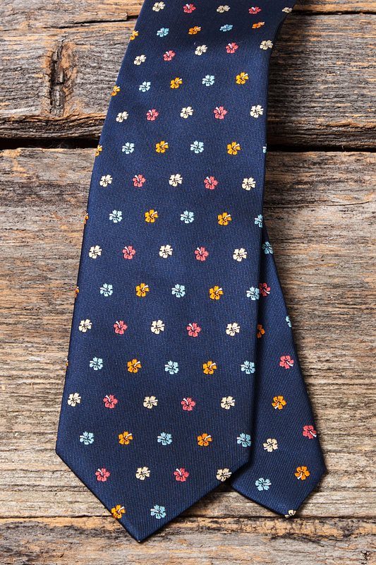 Awesome Blossoms Navy Blue Extra Long Tie Photo (3)