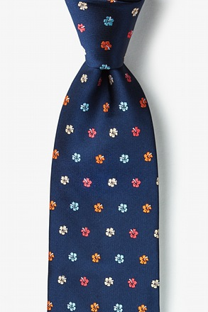 _Awesome Blossoms Navy Blue Extra Long Tie_