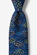 Navy Blue Silk Back to School Tie