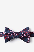 Navy Blue Silk Breast Cancer Butterfly Bow Tie