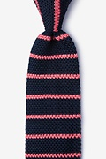 Briton Stripe Navy Blue Knit Tie Photo (0)