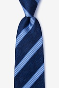 Navy Blue Silk Bronsa Extra Long Tie