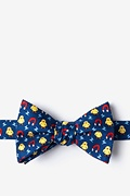 Navy Blue Silk Chick Magnet Self-Tie Bow Tie