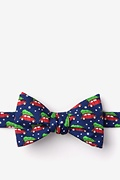 Navy Blue Silk Christmas Car-ma Bow Tie