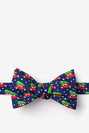 Christmas Car-ma Navy Blue Self-Tie Bow Tie