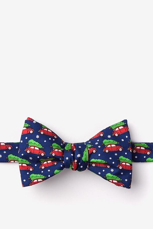 Christmas Car-ma Navy Blue Self-Tie Bow Tie Photo (0)
