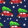 Navy Blue Silk Christmas Car-ma Tie