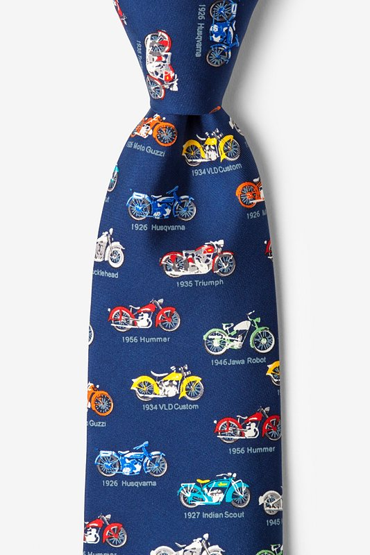 New 1930s Mens Fashion Ties Classic Motorcycles Tie by Alynn -  Navy blue Silk $65.00 AT vintagedancer.com