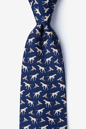 _Clear & Pheasant Danger Navy Blue Tie_
