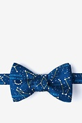 Navy Blue Silk Connect The Dots Butterfly Bow Tie